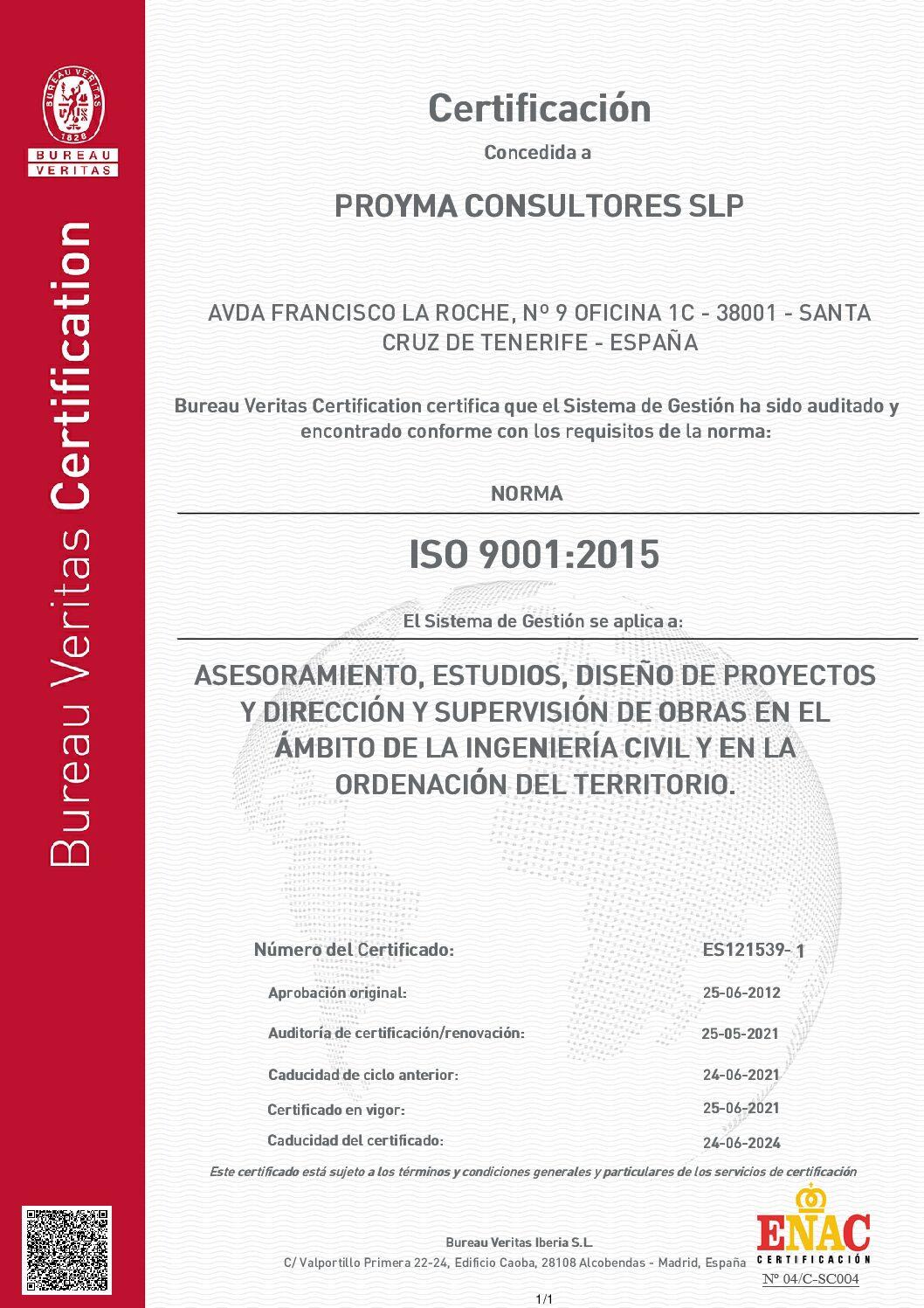 Sistema de Gestión de la Calidad certificado bajo la norma ISO 9001:2008